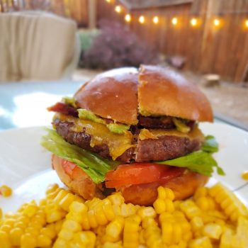 Sinclair-Family-farms-beef-burger-and-corn